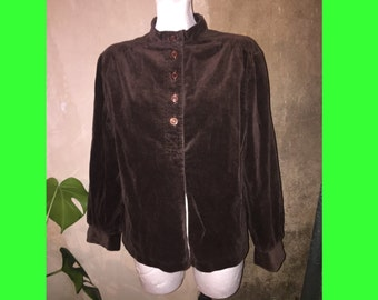Blouse brown corduroy vtg sz S