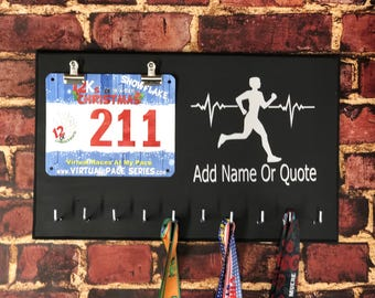 Running Medal Holder, Marathon Medal Display, Heartbeat of a Runner, Running Quote Medal and Bib Holder, Inspirational Wall Art, Track and