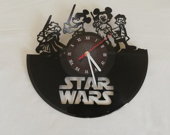 "DISNEY STAR WARS  VINyL RECoRD CLoCK made from 12"" Vinyl Record best gift for kids bedroom gift for star wars fans"