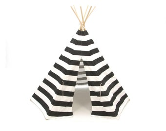 SALE Teepee Style Play Tent Black and White Stripe Six Panel
