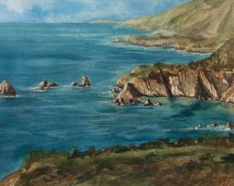 Big Sur Coast, Watercolor Original, Seascape, California, Cove, Sea, Ocean, Blue, Beach