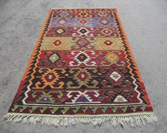 kilim rug free shipping VINTAGE TURKİSH sivrihisar nomads kilim handwoven kilim rug decorative kilim - SİZE : 61'' X 118'' (153 cm X 295 cm)