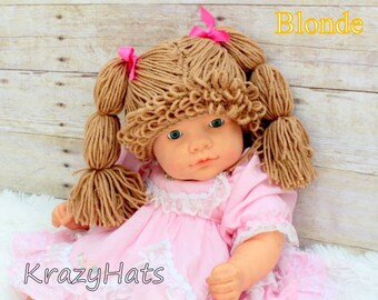 Crochet Cabbage Patch Wig/Hat.Size:3 month old to 4y.old.Made to order.