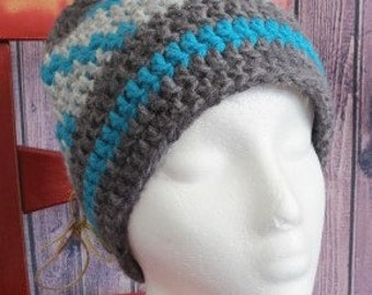 READY TO SHIP-Crochet hat, grey and turquoise/fall and winter accessory/kid's fashion/gift for kid/gift idea/hand made/ready to ship