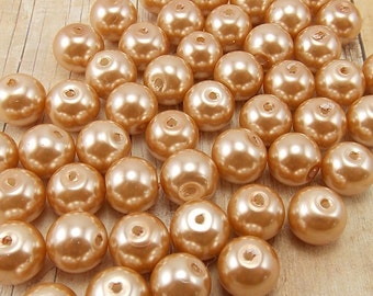 6mm Glass Pearls - Dark Beige - 75 pieces - Tan