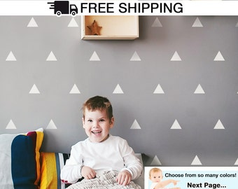 Triangles Wall Decal, Triangle Wall Stickers - Triangle Shapes Decal For Kids Room / Baby Nursery, Tribal Wall Decal- A Todeco Product