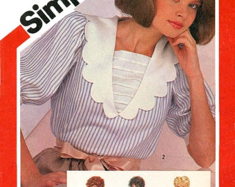 Simplicity 5849 Vintage 1980s pullover blouse with collar variations uncut sewing pattern