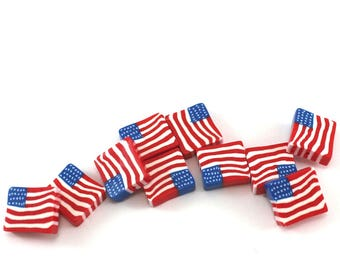 DIY gift for friends USA flag beads for jewelry making polymer clay beads Independence stars and stripes beads patriotic 4th of July, 10 pcs