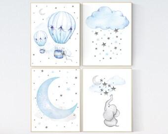 Blue Gray Nursery Art, nursery decor elephant, nursery decor boy cloud, nursery decor boy hot air balloon, blue and gray, elephant nursery