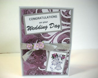 Wedding Handmade Card, Congratulations on Your Wedding Day, Wedding Bells Silver and Purple