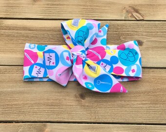 Nurse Headwrap- Head Wrap; Headwrap; Nurse Headband; Nurse Bow; Doctor Headwrap; Doctor Headband; Doctor Bow; Baby Headband Toddler Headband