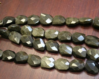 Two Strands of Large Multi-Faceted Rainbow Obsidian Beads