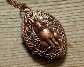 Copper Rabbit Locket, Copper Floral Locket, Bunny Locket, Flower Locket, Oval Copper Locket Pendant, Animal Jewelry, Rabbit Jewelry