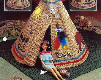 Native American Playset Barbie Furniture Pattern Annies Fashion Doll Crochet Club FC28-01