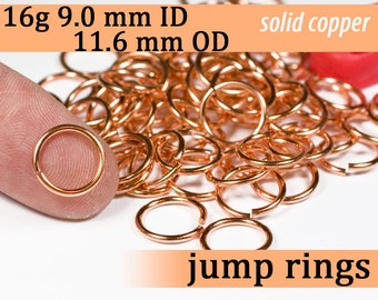 16g 9.0 mm ID 11.6 mm OD copper jump rings -- 16g9.00 jumprings links