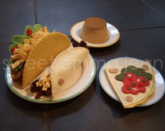 Felt Play Food Pattern - Taco Dinner - Felt Mexican Food PDF - DIY Felt Food