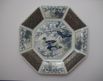 Sell it yourself Vintage oriental octagonal porcelain plate, ducks on the pond, made in Japan
