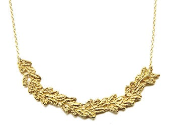 Vine lace bib necklace in 14k gold plate on 14k gold filled chain