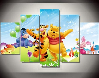 5 Panels Winnie the Pooh Disney Canvas Art Multi Grouped Art Work Artwork