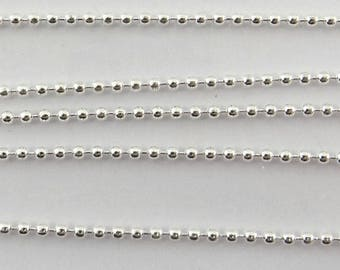 4 meters of chains beads 1.5 mm metal silver cba001