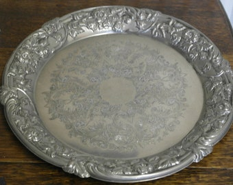 vintage large round ornate silver plate drinks serving tray