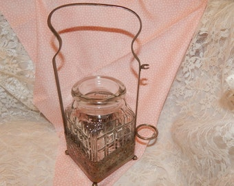 English Pickle / Condiment Caddy with Pressed Glass Cube Jar sitting is Silver Plated Pierced Basket