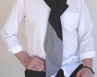 Scarf made with black and white gingham cotton fabric