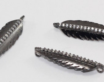 3 Pcs Findings, 30x9mm, Gunmetal, Micro Pave Zirconia, Feather, Bracelet Connectors, CZ Space Beads,  MMT120