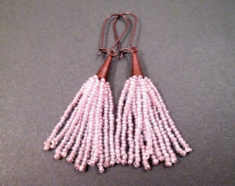 Tassel Earrings, Antique Rose Glass Seed Beaded Fringe Earrings, Copper Dangle Earrings, FREE Shipping U.S.