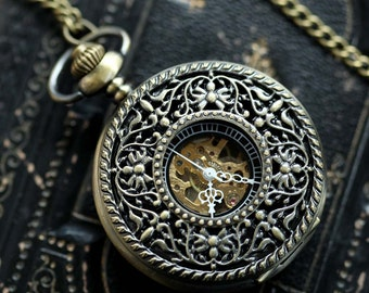 Brass Mechanical Pocket Watch 15 -on Fob or Necklace Chain