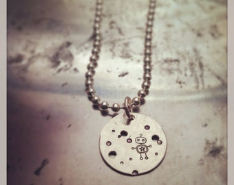 ROBOT hammered recycled sterling silver pendant necklace