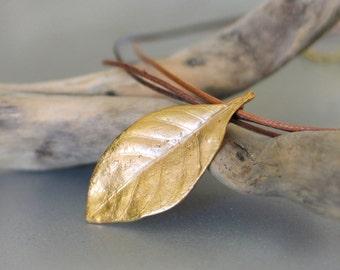 Gardenia leaf gold plated Brass Pendant