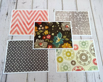 Note Cards, Note Card Set, Blank Cards, Thank You Notes, Stationary, Set of 5 Note Cards with Matching Envelopes, For Her, Floral Note Cards