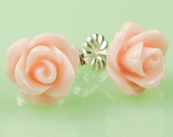 Pink  Rose Button Post Earrings