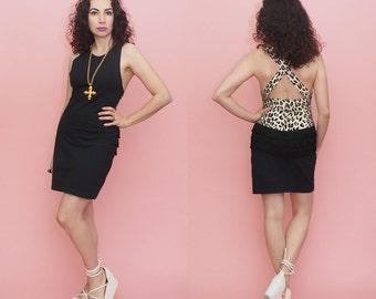 90s Bodycon Dress // 90s Mini Dress // Leopard Print Dress // Black Mini Dress // LBD  // Fringe Dress // Medium