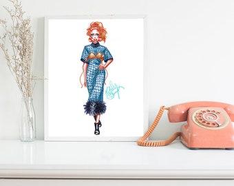 Blue Fur Fashion Week Drag Queen - Original Fashion Illustration