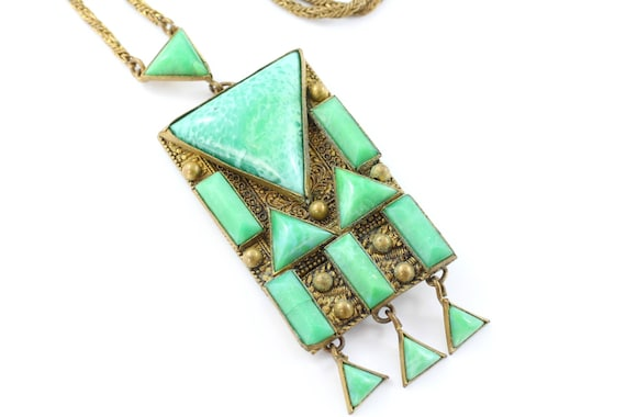 Art deco pendant necklace green glass set pendant chain and like this item mozeypictures Image collections