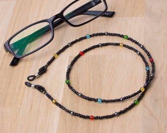 Glasses lanyard - Rainbow glass bead and Hematite gemstone eyeglass cord | Eyewear accessories | Sunglasses beaded neck cord