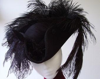 Steampunk Gothic black Pirate tricorn hat