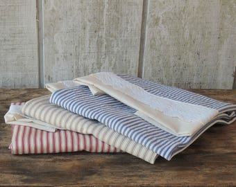 Ticking Stripe Lace Trimmed Hand Towels Listing is for One Towel Only