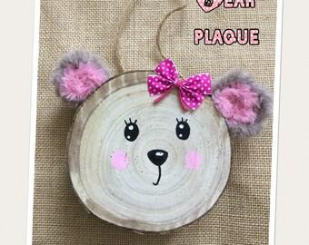 Bear wood slice plaque