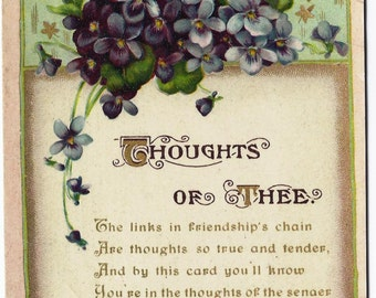 Old Vintage Postcard, Blue Flowers, Poem, Poetry