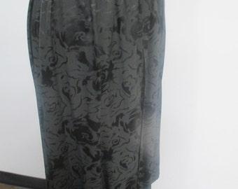 Black flower print on black silk long skirt with elasticized waist