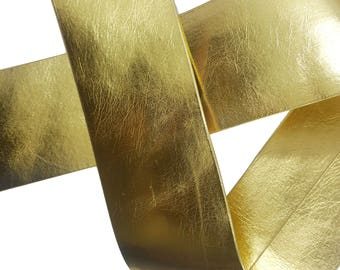 Gold Silver Faux Leather Ribbon Trim for Crafts and Fashion