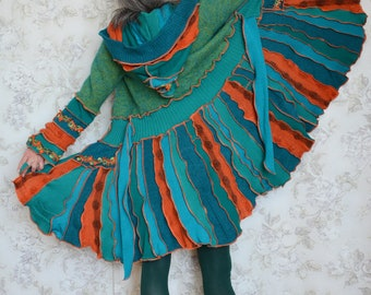Turquoise- Upcyled sweater coat, Inspired by Katwise, One of a kind, Festival clothing, Wearable art, Small