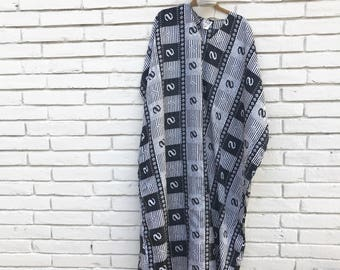 vintage 1970's black and white mumu with gold accents