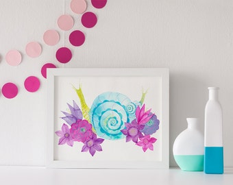 ART PRINT / nursery snail art, whimisical nursery, girly nursery, nature decor, garden art
