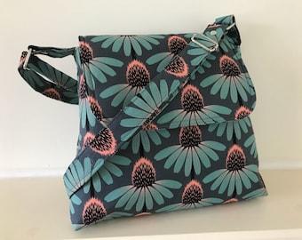Echinacea Daisy satchel ,floral satchel ,turquoise bag , across body bag ,summer bag