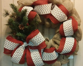 Hand-crafted Burlap Christmas Wreath // Christmas gift for her