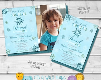 Boy Snowflake Onederland Invitation • Winter Onderland • Winter Wonderland Invitations • Snowflake Wonderland • Winter 1st Birthday Ideas